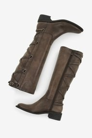 Janiss Knee-High Boot With Back Lace Detail