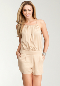 Pleated Neck Romper
