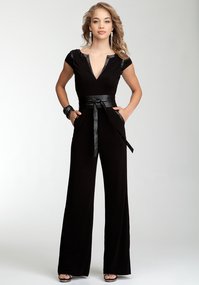 Wrap Belt Knit Jumpsuit
