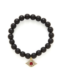 Matte Onyx & Crystal Evil Eye Stretch Bracelet