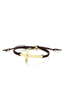Cross & Brown Cord Bracelet