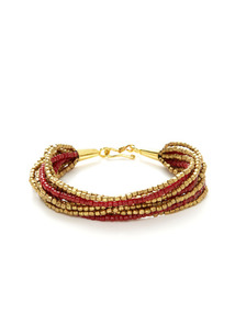 Red Glass & Brass Bead Multi-Strand Bracelet