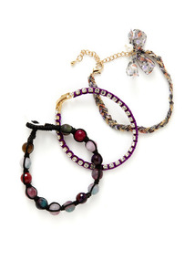 Set Of 3 Multicolor Agate, Braided Cord, & Purple Bracelets