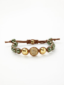 Green & Gold Crystal Bracelet