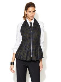 Plaid Pleated Wool Halter Vest