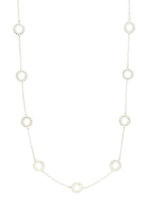Bali Silver Open Circle Station Necklace