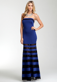 Strapless Mesh Stripe Maxi Dress