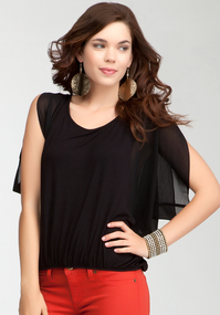 Flutter Sleeve Bubble Hem Top