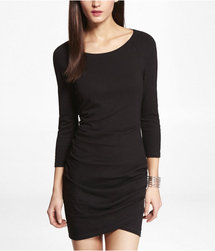 Express Womens Tulip Hem Raglan Sleeve Dress Pitch Black