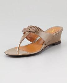 Fendi Striped Fabric-Patent Wedge Thong Sandal, Taupe