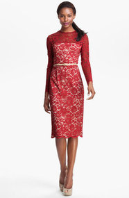 Maggy London Embroidered Lace Overlay Midi Dress