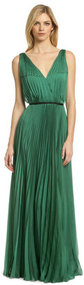 Halston Heritage For Evergreen Pleat Gown