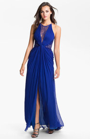 BCBGMAXAZRIA Lace Inset Textured Silk Chiffon Gown