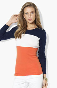 Lauren Ralph Lauren Zip Shoulder Top