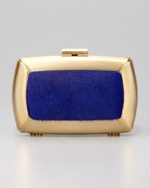 BCBGMAXAZRIA Liza Calf-Hair Minaudiere, Blue
