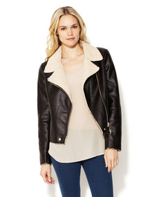 Croc Embossed Faux Shearling Jacket