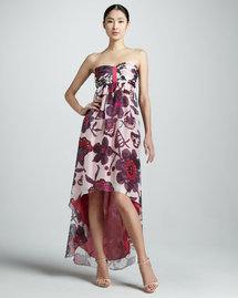 KAS New York Solana Floral Strapless High-Low Dress