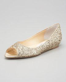 Jimmy Choo Beck Open-Toe Glitter Flat, Champagne