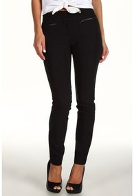 DKNYC - Skinny Pant w/ Faux Leather Pkt Trim (Black) - Apparel