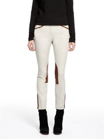 Ankle Skinny Pant With Leather Riding Patch And Ankle Zipper