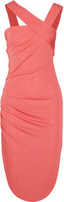 Halston Heritage Ruched asymmetric jersey dress