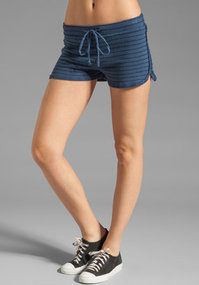 LA Made French Terry Mini Stripe Drawstring Shorts