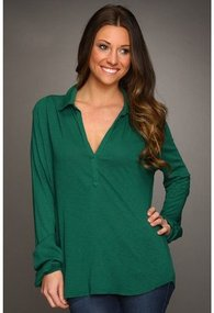 Michael Stars - Slub Collared High-Low Blouse (Emerald) - Apparel