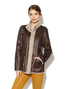 Trimmed Faux Shearling Jacket