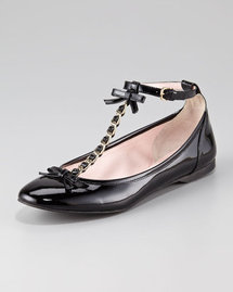 RED Valentino Patent Chain T-Strap Flat