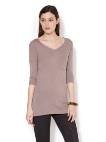 Jersey 3/4 Sleeve V-Neck Top