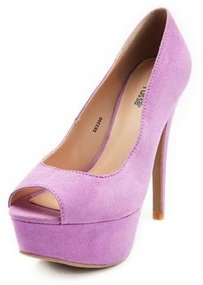 Sueded Peep-Toe Platform Pump