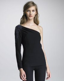 Trina Turk Ashoka Bead-Shoulder One-Sleeve Top