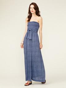 Smocked Linen Jersey Maxi Dress