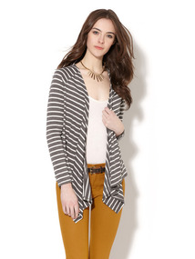 Extended Front Striped Cotton Cardigan