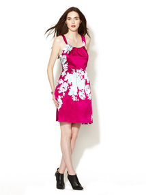 Silk Blossom Print Halter Dress