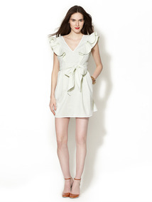 Seersucker Ruffle Sleeve Dress