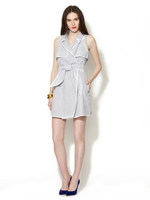 Seersucker Sleeveless Wrap Dress