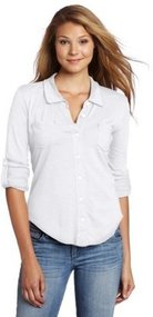 Michael Stars Women's Long Sleeve Raw Edge Fitted Button Down Shirt