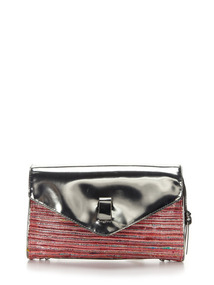 Belted Strap Mixed Media Convertible Clutch