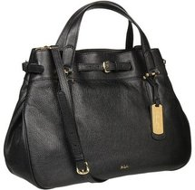 LAUREN Ralph Lauren - Chandler Belted Satchel (Black) - Bags and Luggage