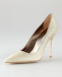 Manolo Blahnik Gold Glitter Pump