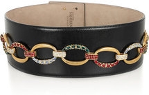 Alexander McQueen Crystal and chain-embellished leather belt