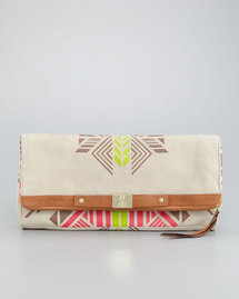 Cynthia Vincent Tribal-Print Banker&#x27;s Clutch Bag