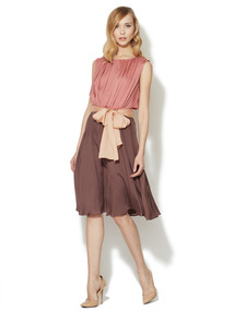 Denise Silk Flared Colorblock Dress