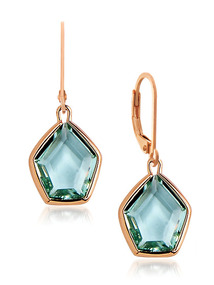 Rose Gold &amp; Teal CZ Pentagon Earrings