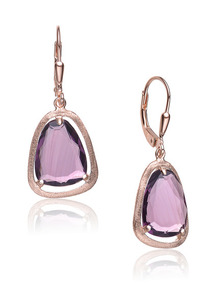Rose Gold &amp; Purple CZ Geometric Drop Earrings