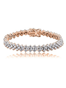 Rose Gold &amp; Pave CZ Bracelet