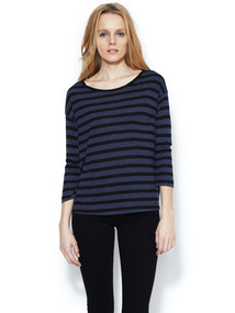 Striped 3/4 Sleeve Pocket Tee