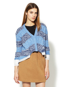 Printed Wool High Low Cardigan