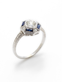 Art Deco Diamond & Sapphire Geometric Ring